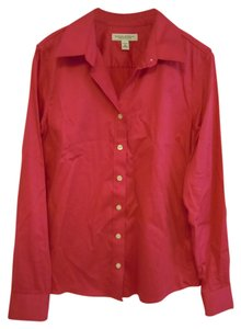 Banana Republic Long Sleeved Non Iron Fitted Button Down Shirt pink coral