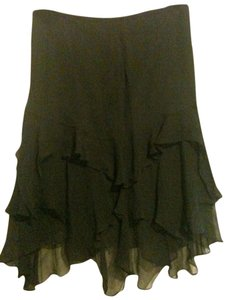 insight Silk Flowy Evening Chiffon Tiered Skirt Black