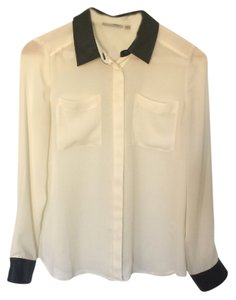 Halogen Sheer Faux Leather Button Down Shirt White, Black