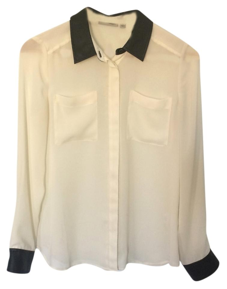 17665573 Halogen Sheer Faux Leather Button Down Shirt White, Black Image 0 ...
