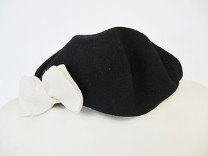 San Diego Hat Company Womens San Diego Hat Co. Black Cream Bow Wool Beret Hat Os