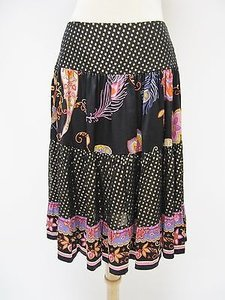 Trina Turk Womens Black Polka Skirt Multi-Color