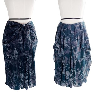 3.1 Phillip Lim Silk Pleating Pattern Skirt Petrol / Gray, Lavender, Deep Blue-Green Turquoise