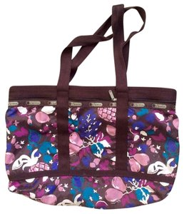 LeSportsac Sturdy Weekend Tote Tote Travel Zipper Pockets Fruit Floral Motif Nylon Dark Chocolate Brown + Purple Floral/Fruit Theme Pattern Travel Bag
