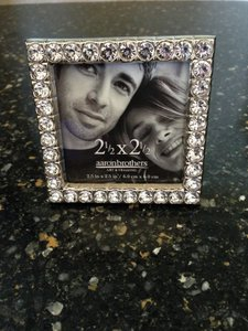 Aaron Brothers Silver/Jeweled Small Square Picture Frames Reception Decoration