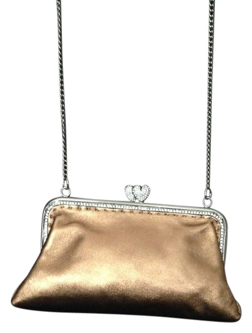 Item - Evening Long Silver Chain Rhinestone Details Hearts Shape Lock Excellent Condition Soft Shimmery Copper Leather Shoulder Bag
