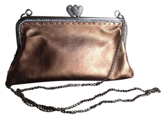 Besson Evening Leather Long Silver Chain Rhinestone Details Hearts Shape Lock Excellent Condition Shoulder Bag