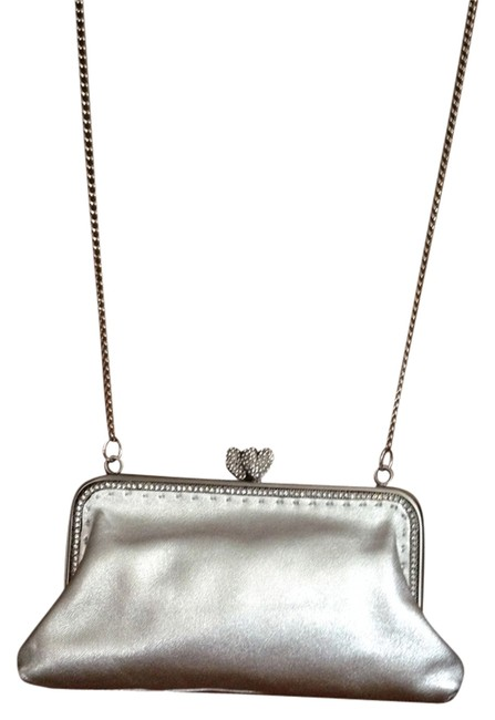 Item - Evening With A Long Chain Strap. Silver Leather Shoulder Bag