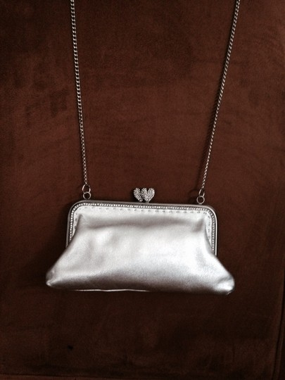 Besson Small Evening Rhinestone Details Long Chian Strap Soft Shade Soft Leather Shoulder Bag
