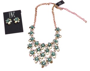INC International Concepts INC Turquoise, gold and rhinestone flowered Necklace and earrings set