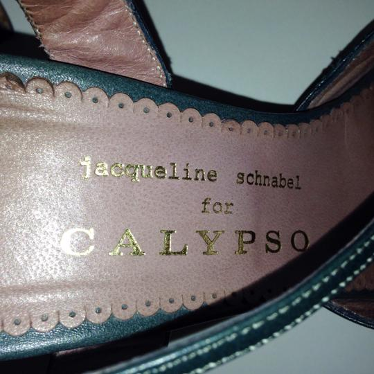 Jacqueline Schnabel for Calypso Leather Retro Look Retro forest green Sandals