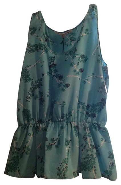 Collective Concepts Multi Color Pattern Flowers Peplum Top Blue Green