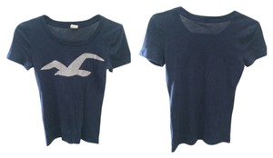 Hollister T Shirt Navy Blue/Silver