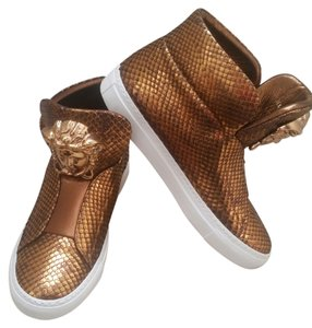 Versace Leather Python Gold Flats