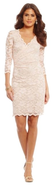 Item - Light Pink/Nude Lining Blush Lace Above Knee Cocktail Dress Size 12 (L)