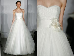 CHRISTOS Diamond/Silk White Tulle Desiree Feminine Wedding Dress Size 4 (S)