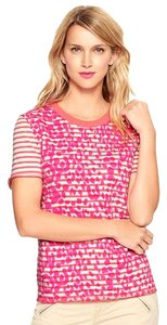 Gap Animal Print Striped Crewneck Short Sleeves French Terry T Shirt Pink and Coral