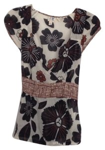 Anthropologie Top Brown, black and cream