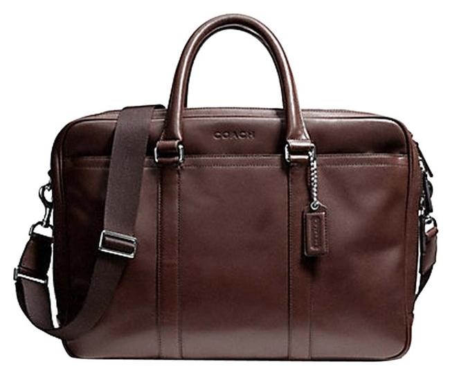Item - Lexington Commuter F71065) Silver/Mahogany Leather Laptop Bag