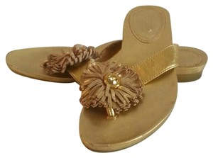 Coach Flat Flower gold Sandals