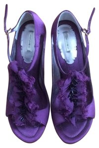 Max Studio Ruffle Beaded Silk Leather Purple Formal