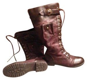 Ruff Hewn Brown Bordeaux Military Combat Cargo Laceup Zipper Vegan Leatherette Quality Manmade Materials Urban Outfitters Free Mulberry Boots