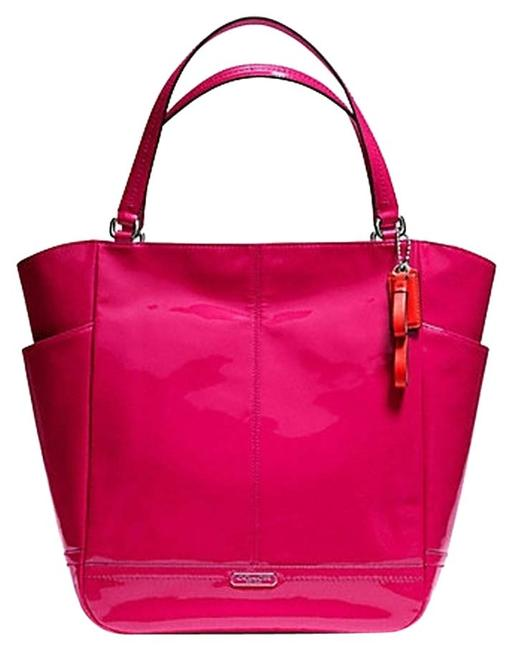 Item - Park Black N/S 24893 Silver/Raspberry Patent Leather Tote