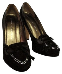 Martinez Valero Suede Fabreana Rhinestones Career Formal Heels Leather Suede Italian Black Pumps
