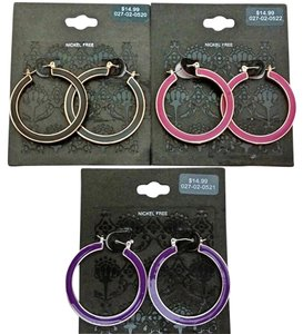 3 Pair Large Hoop Fashion Earrings, Pink, Purple, Black, Retail $14.99 ea