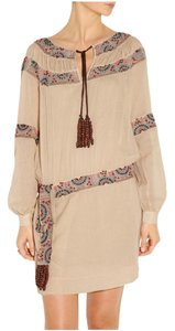 Skaist Taylor short dress Cream with multi-colored beaded trim Boho on Tradesy