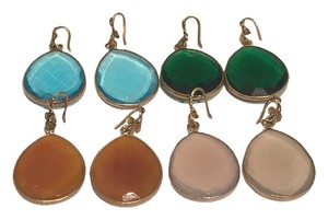 Goldplated bezzeled earrings - blue & green hydroquartz, grey moonstone & yellow onyx only $25 each pair.