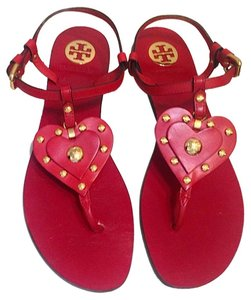 Tory Burch Leather Red Red/Gold Flats