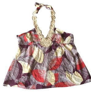 BCBGMAXAZRIA Multi-colored leaf print Halter Top