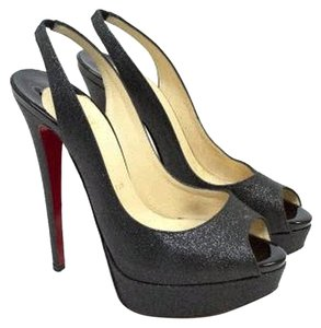 Christian Louboutin Slingback Platform Glitter Red Bottom Red Sole Black Glitter Pumps