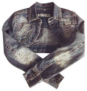 Hydraulic Cropped Cropped Studs Studded Jean Womens Jean Jacket