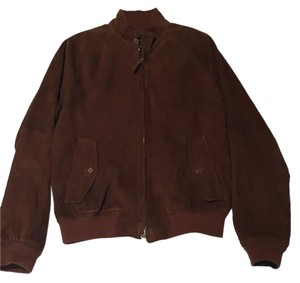 Polo Ralph Lauren Tan Suede Leather Bomber Brown Leather Jacket