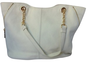 Vince Camuto Leather Pebbled Logo Tote in Cream