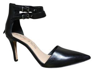 Sole Society Heel Mid Heel Pointed Toe Ankle Strap Black Formal