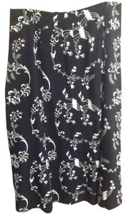 Rena Lange Handmade Embroidery Vintage Designer Maxi Skirt dark navy and white