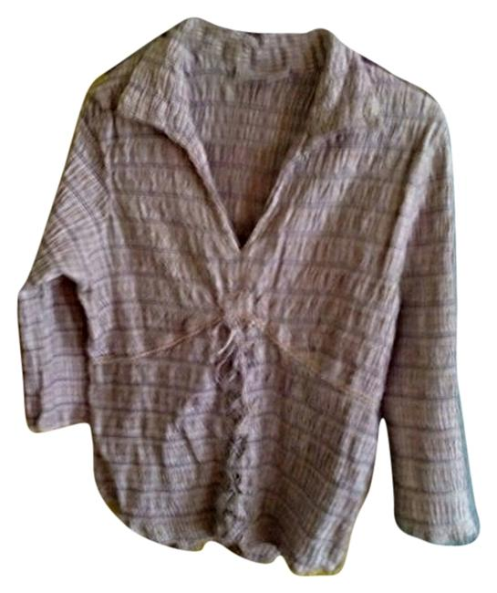 Item - Multi Tan Brown & Beige and White Throughout Shirt Rn# 37080 Blouse Size 14 (L)