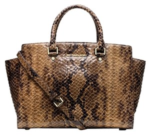 Michael Kors Python Snake Dark Grey Slate Zip Top Large Selma Satchel in dark/brown