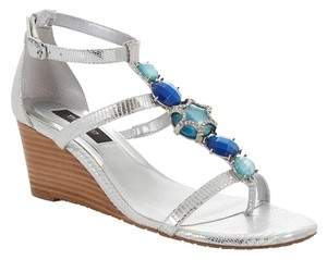White House | Black Market Bllue Silver Silver/Blue Wedges