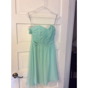 Alfred Angelo Aqua Chiffon 7143 Modern Bridesmaid/Mob Dress Size 6 (S)