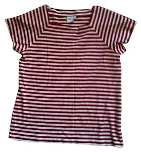 aileen T Shirt Red & White. Cotton Pullover