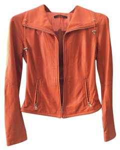 Elie Tahari Orange Leather Jacket