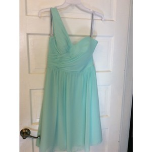 Alfred Angelo Aqua Chiffon 7257s Modern Bridesmaid/Mob Dress Size 8 (M)