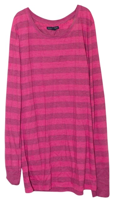 American Eagle Outfitters T Shirt Pink/Blue Stripes