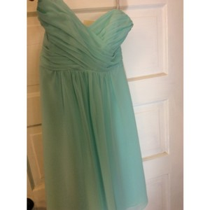Alfred Angelo Aqua Chiffon 7289s Modern Bridesmaid/Mob Dress Size 6 (S)