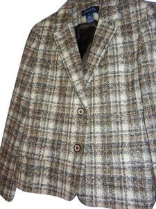 Jones New York Browns and Cream Tweed Blazer