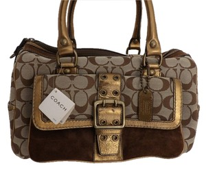 Coach Limited Edition Signature Monogram Brown Suede Satchel in Tan/Brown and Bronzed Gold